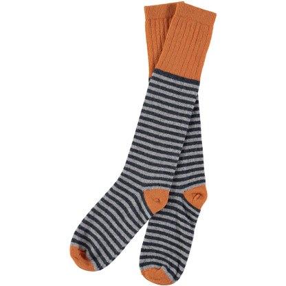 Lambswool Navy & Grey Stripy Knee Socks (Men)