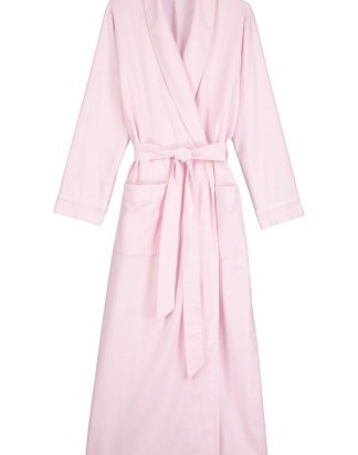 Brushed Cotton Dressing Gown in Pastel Pink