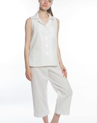 Blanc Seersucker Sleeveless Cropped Pant PJs
