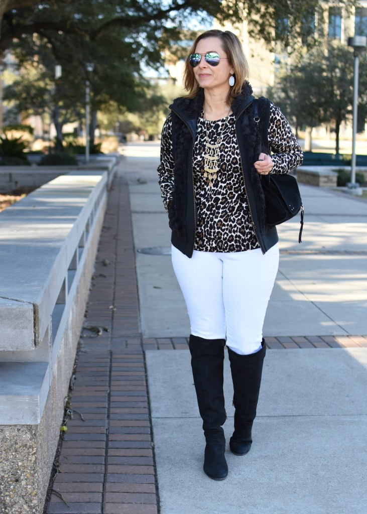 Layering Leopard and Black with White Jeans for Winter