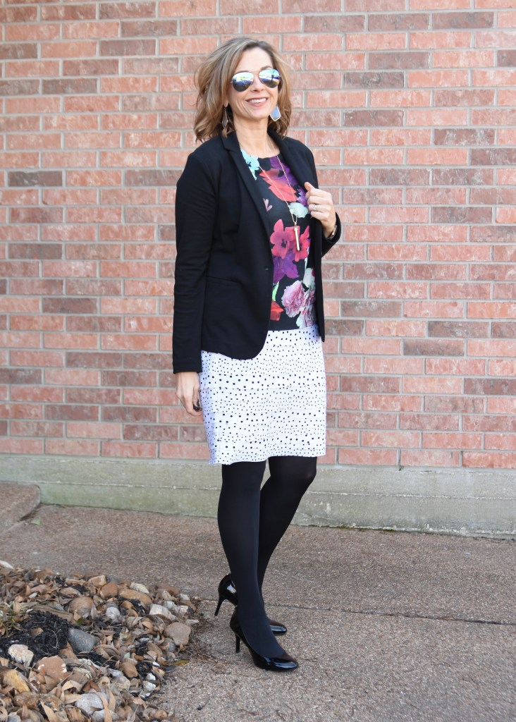 Pattern Mixing with Floral and Dots