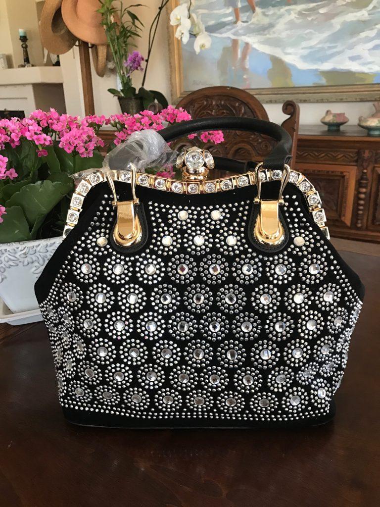 Black & Rhinestone Handbag, Casual to classy!