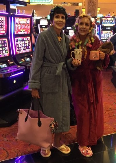 Stella and Patti, in our frum attire, upon arriving at Harrah's