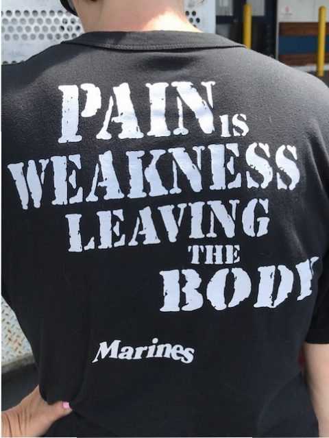 The back of one of the volunteer's shirts. She is a proud marine mom!