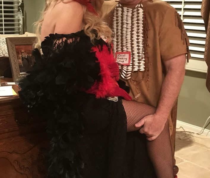 Here we were, in our costumes for our Western Murder Mystery. Me as Elvira-Lynn Fekshin and Don as Chief Breaking Wind, , the distinguished leader of the Cow Pai Tribe.......