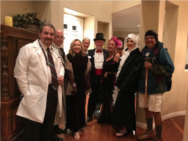 Our guests, in costume, for The Watersdown Affair Murder Mystery. What a fun evening we had! This was a great one!