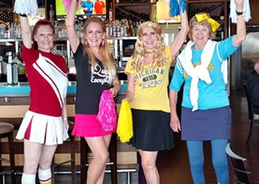 Gerri, Patti, Stella as a blonde!) and Barbara enjoying Happy Hour!