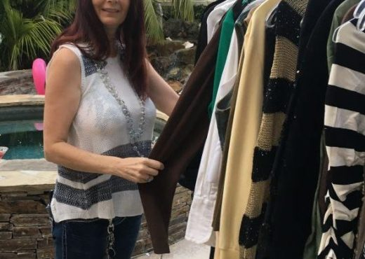 Gerri, shopping outside at a clothing swap