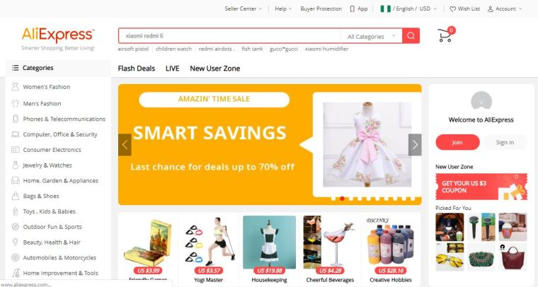 Best cheap online shopping sites - AliExpress