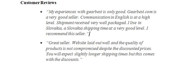 Gearbest Customers reviews