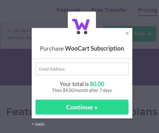 Woocart hosting free trial