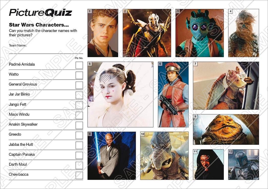 Quiz Number 001 With Star Wars Picture Round