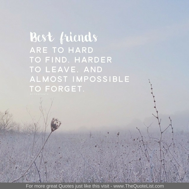 """Best Friends are hard to find, harder to leave and impossible to forget"""