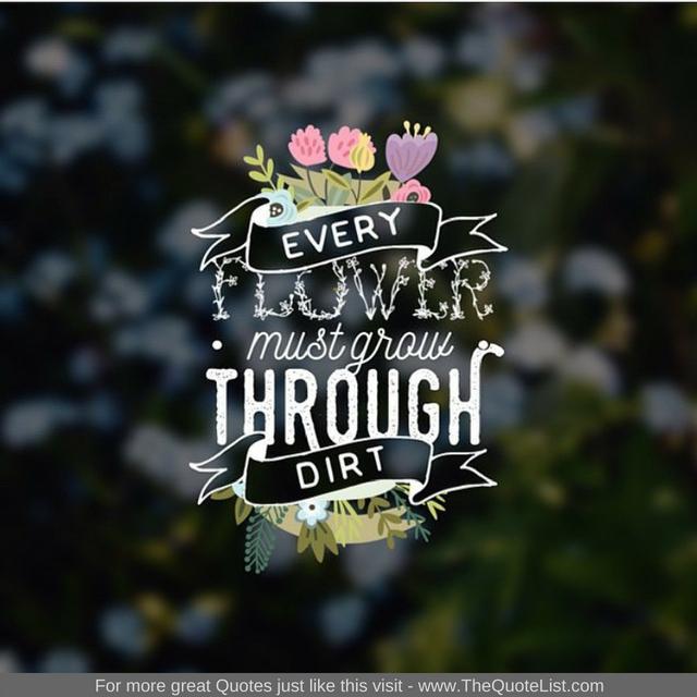 """Every flower has to grow through dirt"""