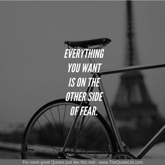 """Everything you want is on the other side of fear"""