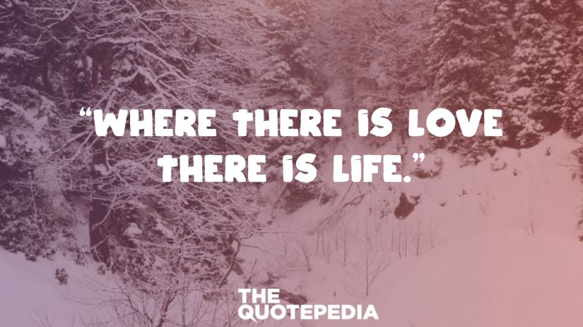 """""""Where there is love there is life."""""""