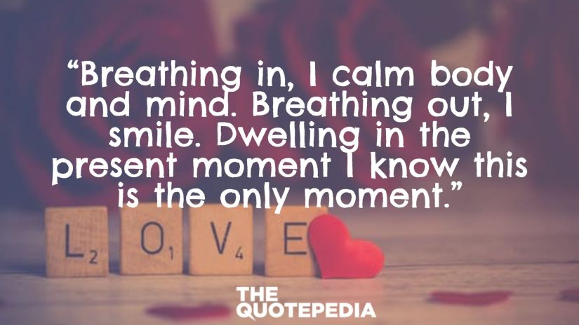 """""""Breathing in, I calm body and mind. Breathing out, I smile. Dwelling in the present moment I know this is the only moment."""""""