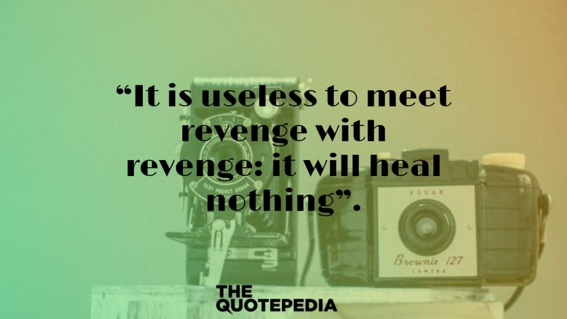 """""""It is useless to meet revenge with revenge: it will heal nothing""""."""