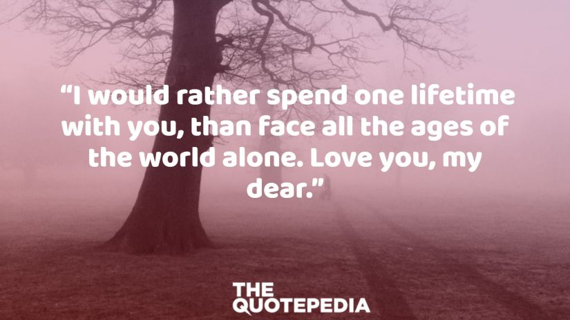 """""""I would rather spend one lifetime with you, than face all the ages of the world alone. Love you, my dear."""""""