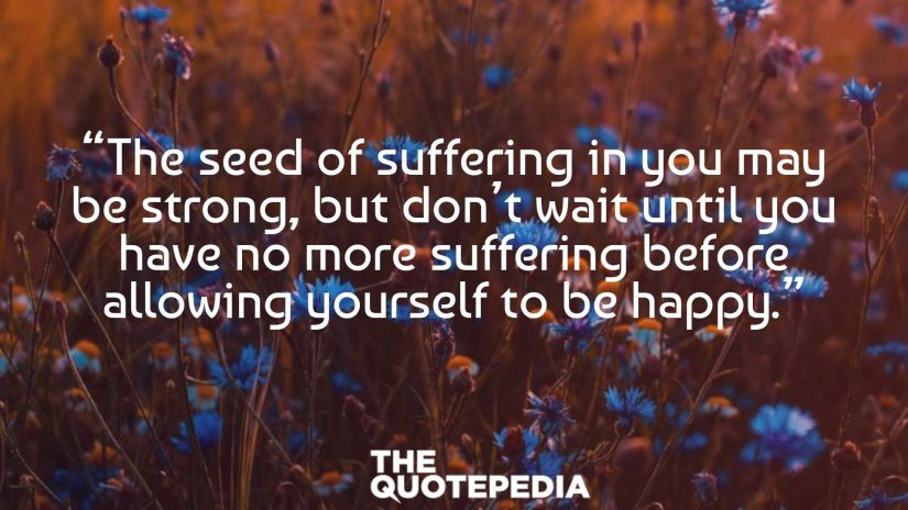 """""""The seed of suffering in you may be strong, but don't wait until you have no more suffering before allowing yourself to be happy."""""""