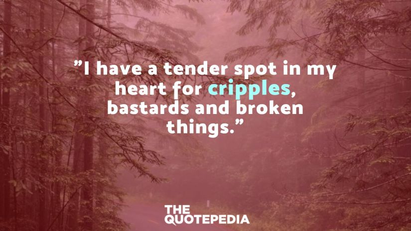 """I have a tender spot in my heart for cripples, bastards and broken things."""