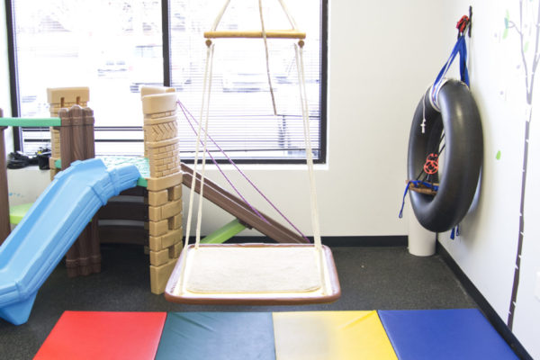 This system allows us to use several different tools that suspend from the ceiling. We can use the platform swing, regular swing, inner tube, hammack, and body weight support harnesses. Also pictured is our play set (Back Left)