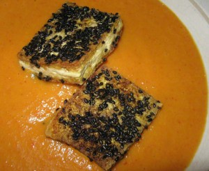 Curried Carrot Soup with Sesame Crusted Tofu in a Heathware bowl