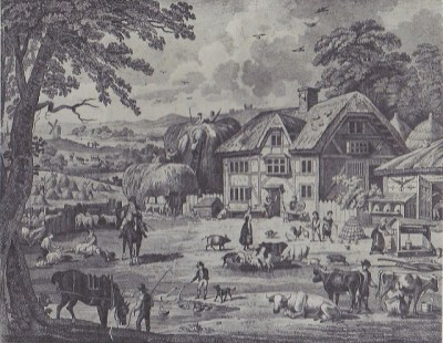 The picture of an 18th c. farm that hung over Rachel's mantelpiece when she was a child