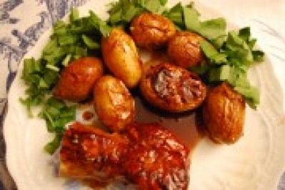 Lacquered Pork Tenderloin, Roast Potatoes & Ramson Recipe, Spontaneous Cuisine. Recipe by Jonell Galloway, editor of The Rambling Epicure.