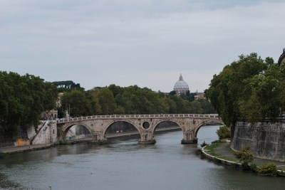 Bridge and River in Trastevere in Rome