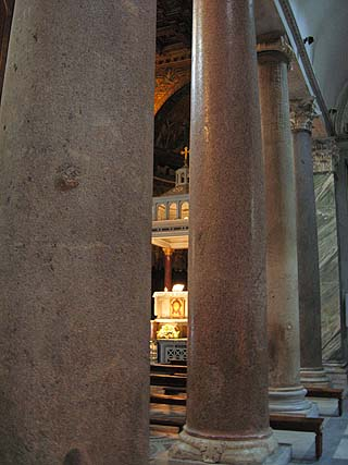Granite columns in Santa Maria in Trastevere, from Baths of Caracalia