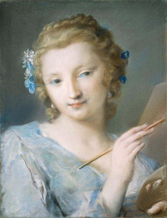 pastel portrait of woman in pale blue by rosalba carriera rococco portrait painter venice venetian hours