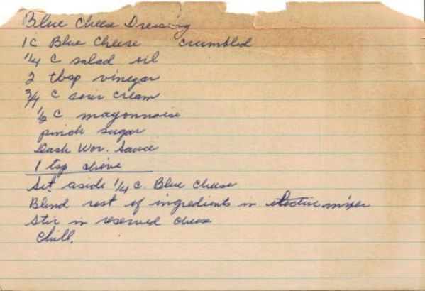 Handwritten recipe for blue cheese/Roquefort dressing