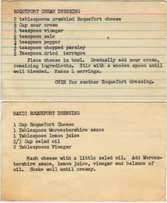 recipe card roquefort dressing