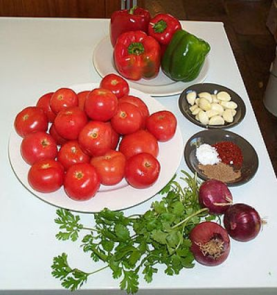 Ingredients for making a fermented salsa. Cloc...