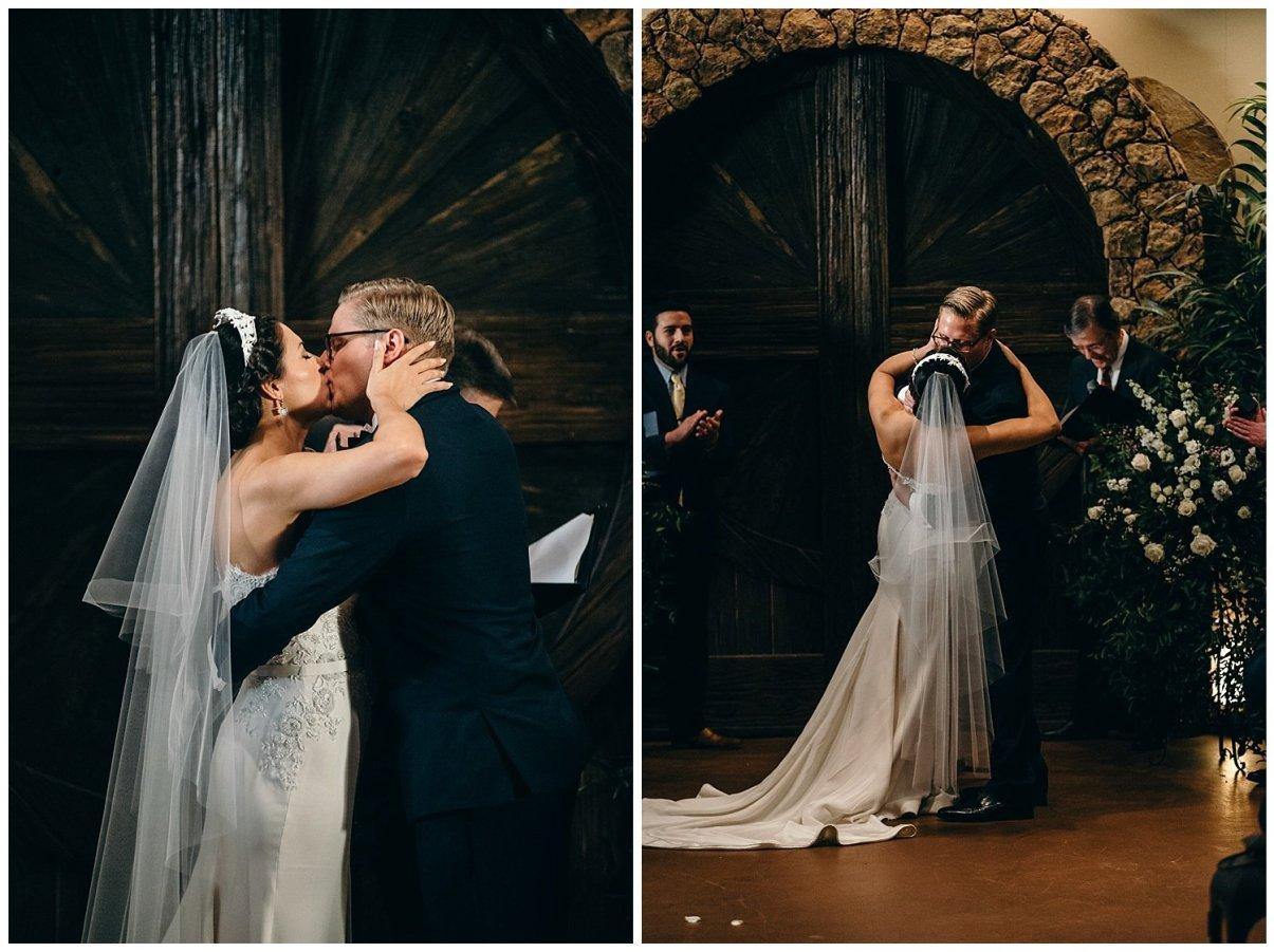 first kiss at agave estates wedding