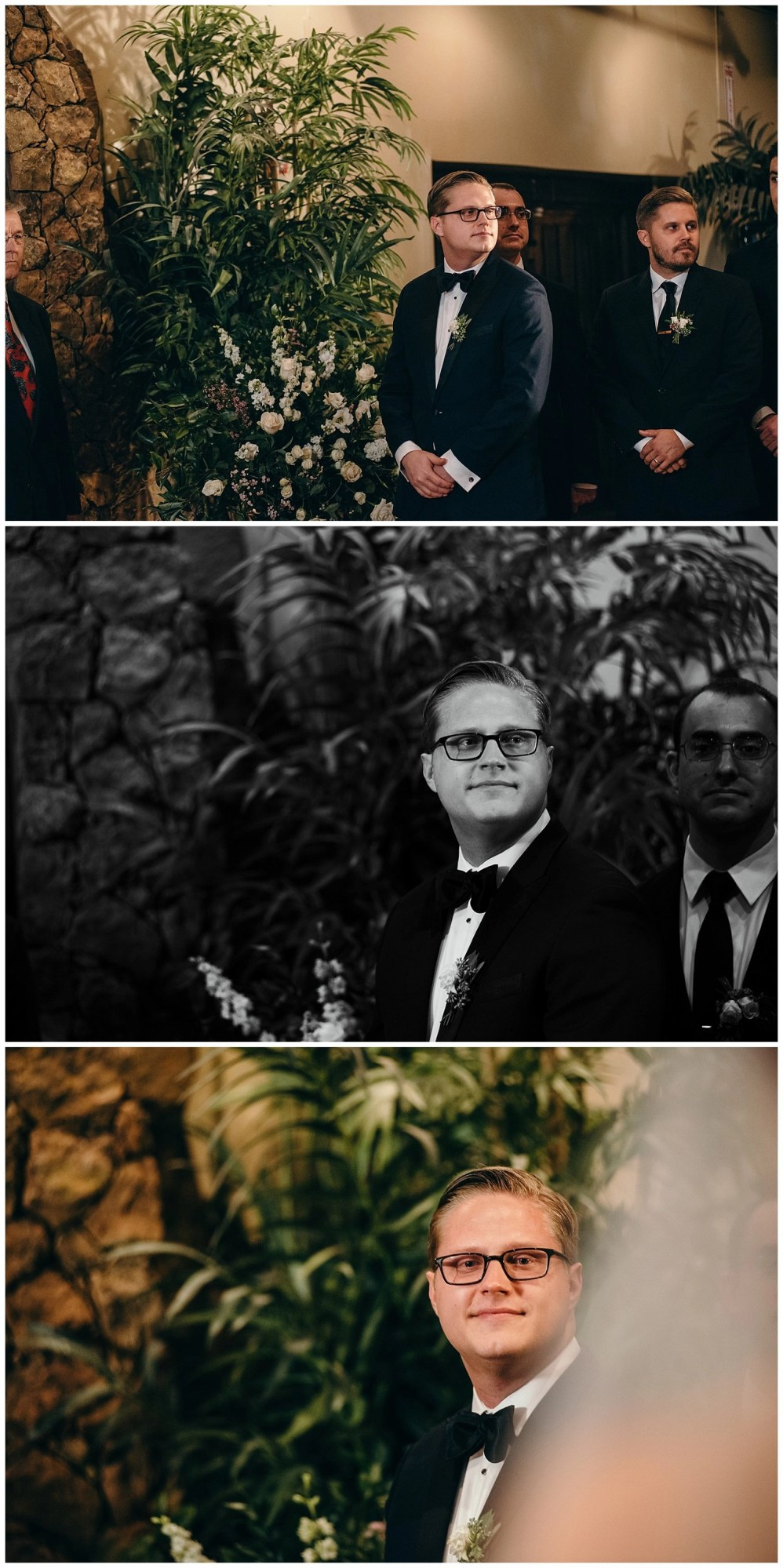 groom waiting for bride coming down aisle
