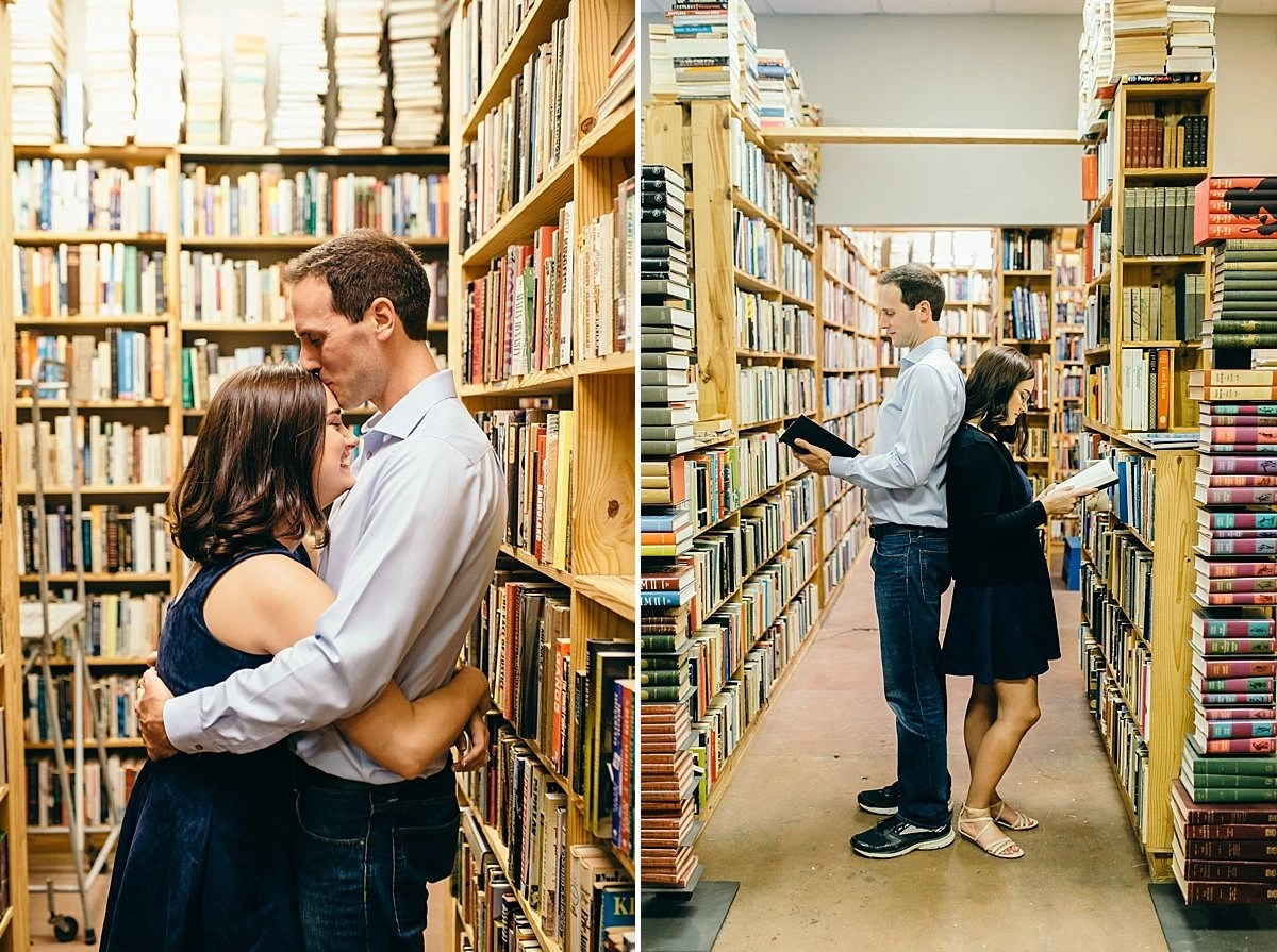 engagement photos in a bookstore
