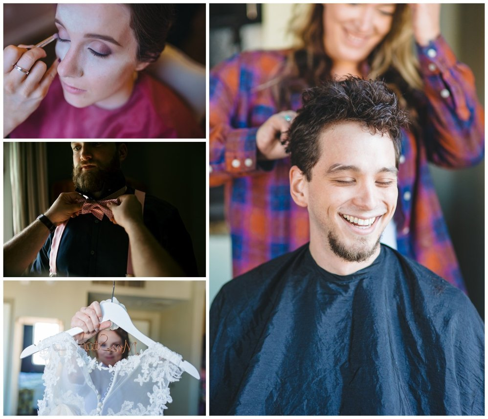 pictures of people getting ready near windows on their wedding day