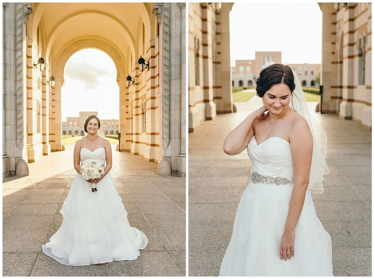 Bridal Portraits at Rice University in front of Lovett Hall