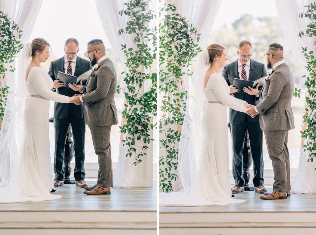 couple laughing during wedding