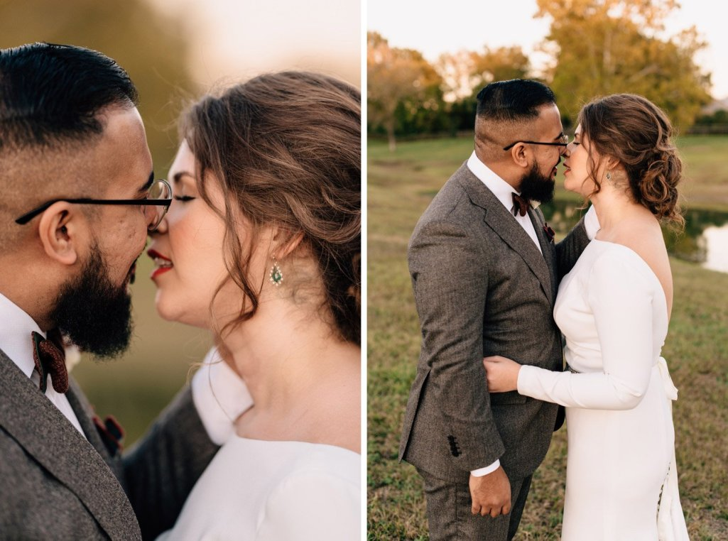 bride and groom portrait kissing