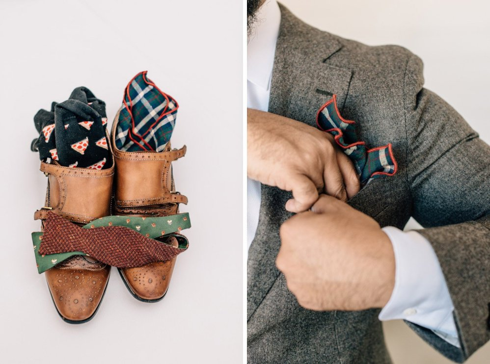 groom details shoes pocket square bow tie