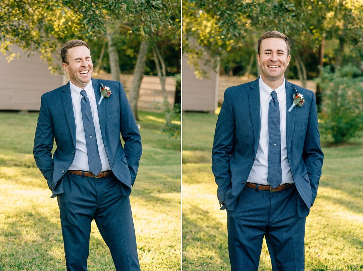 groom portraits laughing