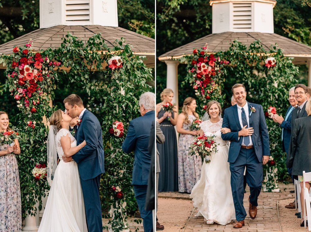 first kiss and exit at Butler's Courtyard Wedding