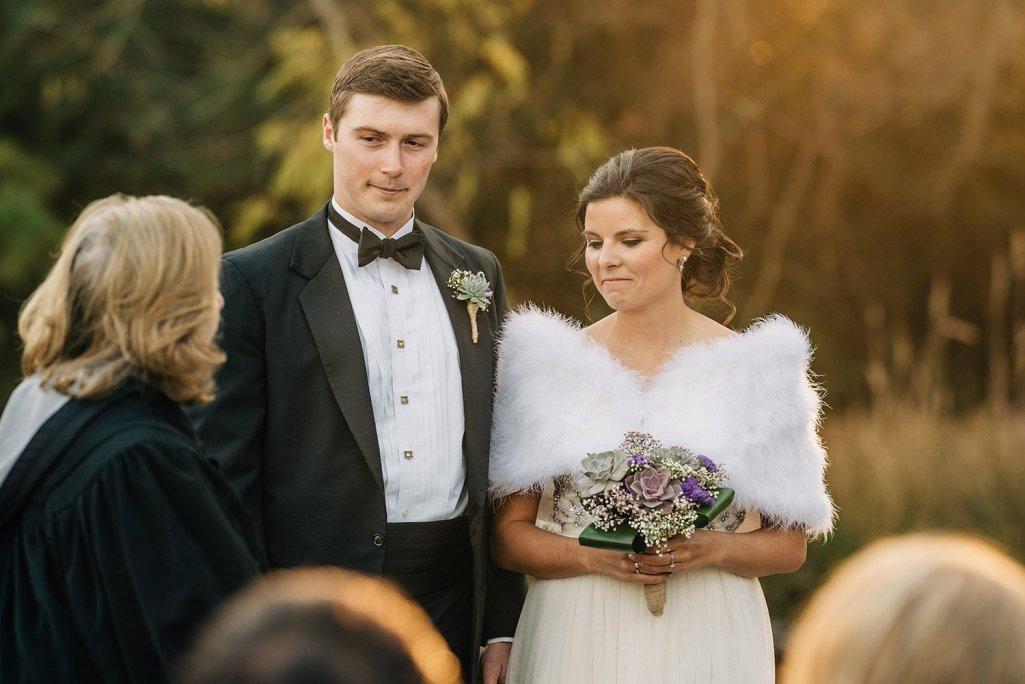 emotional bride and groom