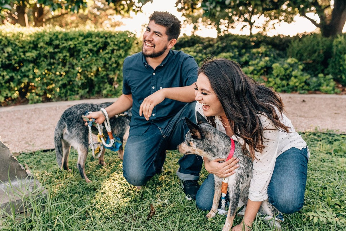 couple laughing with their dogs