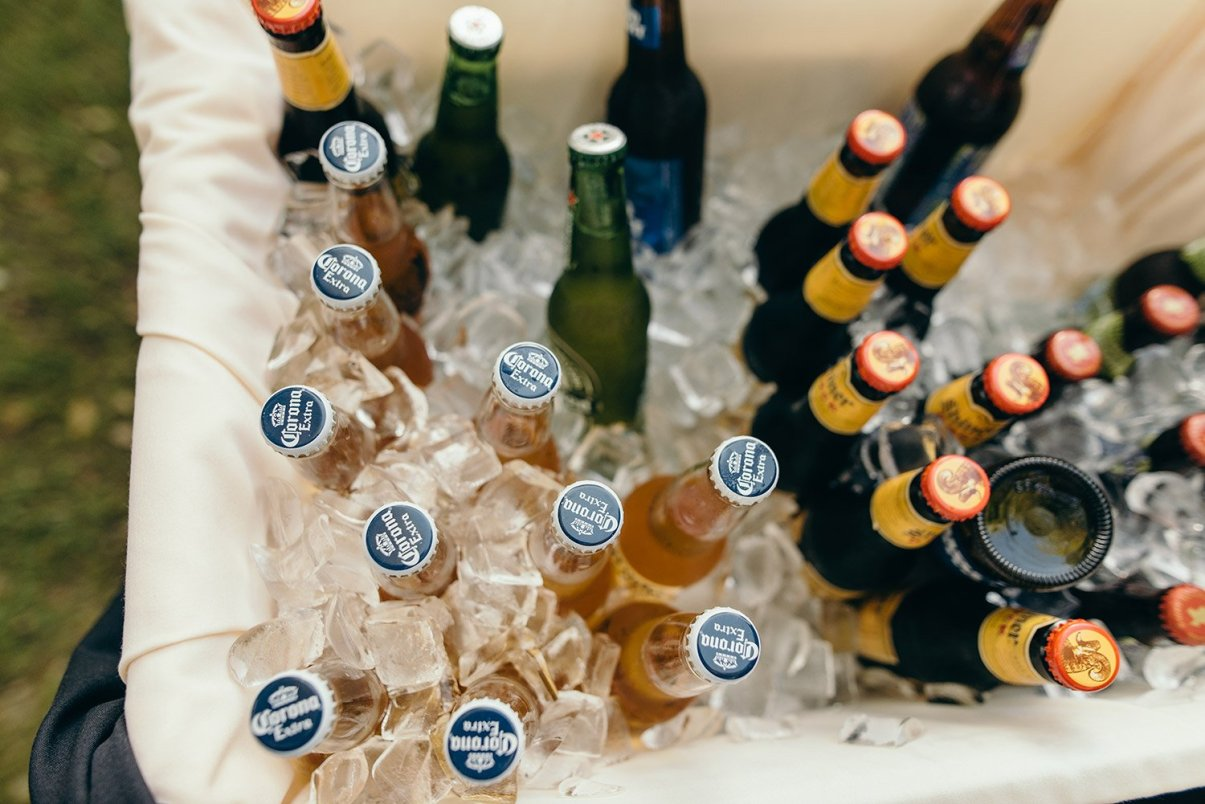 beer at wedding reception