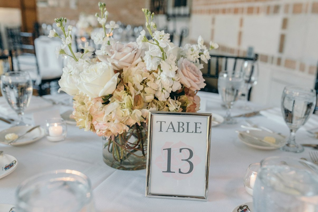 centerpieces at a timeless rice university wedding reception