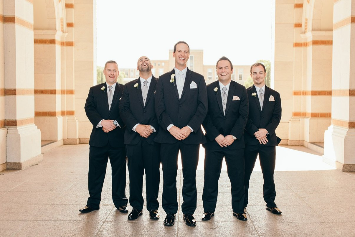 groomsmen laughing